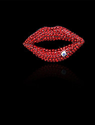Lady's Fashion Inlay Diamond Sexy Red Lip Brooch