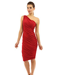 Women's Sexy Solid Bodycon Dress , One Shoulder Knee-length Polyester / Nylon