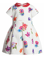 Girl's Multi-color Dress , Floral Polyester Summer
