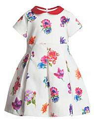 Menina de Vestido Floral Poliéster Verão Colorido