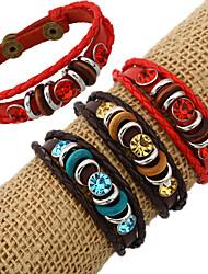 leather Charm BraceletsFashion Charm Diamonds Stone Inlay Leather Bracelets