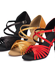Women's Dance Shoes Latin / Salsa / Samba / Ballroom Satin Customized Heel Black / Yellow / Red