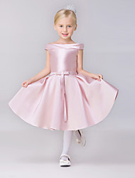 A-line Short / Mini Flower Girl Dress - Satin Short Sleeve Bateau with