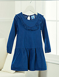 Girl's Blue Dress , Ruffle Cotton Spring
