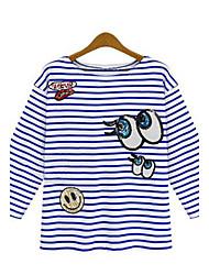 Tee-shirt Aux femmes,Rayé Sortie Printemps Manches ¾ Col Arrondi Bleu / Rose Coton Moyen