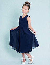 Tea-length Chiffon Junior Bridesmaid Dress-Dark Navy A-line V-neck