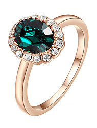 HKTC 18k Rose Gold Plated with Rhinestones Surrounded Emerald Green Crystal Finger Rings for Women