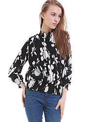 Women's Casual/Daily Simple Blouse,Floral Round Neck Long Sleeve Blue / White / Black Silk Opaque