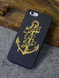 noir iphone bois ancre cas capitaine marin sculpture couverture rigide arrière pour 6s iphone plus / iphone 6, plus