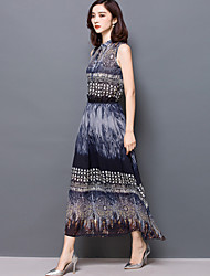 Women's Sexy / Holiday Print Sheath / Chiffon Dress , Stand Maxi Silk
