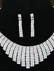 Women's Shiny Elegant Luxury Rhinestone Bridal Sets Bridal Accessories Necklace Earrings Set Wedding Party Gift