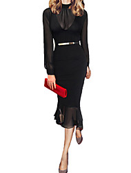 Women Mermaid Dress Semi Sheer Mesh Stand Collar Long Sleeves Bodycon Party Midi Dresses