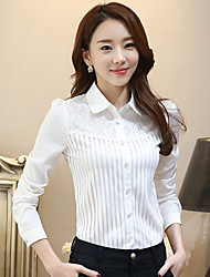 Mulheres Camisa Trabalho Plus Sizes Primavera,Sólido Branco Poliéster Colarinho de Camisa Manga Longa Média