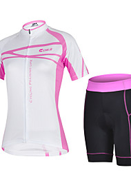 CHEJI Women's Breathable Quick Dry Short Sleeve Bicycle Cycling Jersey 3D Pad Pant