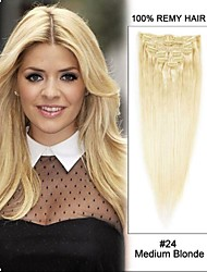 "22 ""7pcs 80g # 24 medium blonde rechte 100% remy haar clip in hair extensions"