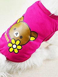 Dog Shirt / T-Shirt Red / Yellow / Blue / Pink Dog Clothes Spring/Fall Cartoon Fashion