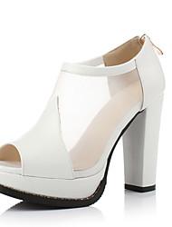 Women's Shoes Net Patchwork Chunky Heel Peep Toe / Platform Sandals Office & Career / Party & Evening Black / White