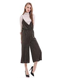 Women's Casual / Day Striped Loose Dress , Strap Midi Cotton / Polyester
