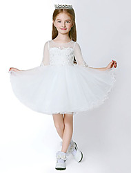 Ball Gown Short / Mini Flower Girl Dress - Tulle 3/4 Length Sleeve Jewel with