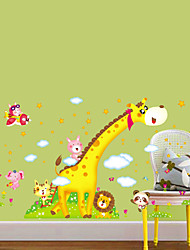 Large Animal Cartoon Giraffe Children Height Measuring Vinyl Wall Stickers For Kids Rooms Home Decor