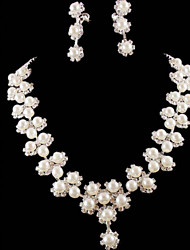 Ivrory Pearl Crystal Jewelry Set(Necklace+Earrings)