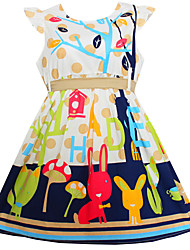 Girls Flower Catoon Print 100% Cotton Party Birthday Cute Baby Children Clothing Dresses