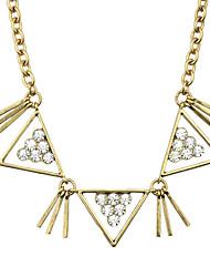 Gold Plated Rhinestone Triangle Shape Necklace