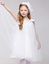 A-line Knee-length Flower Girl Dress - Tulle Sleeveless Scoop with