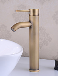 Traditional Centerset Ceramic Valve Single Handle One Hole with Antique Brass Bathroom Sink Faucet