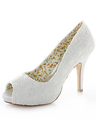 Women's Spring / Summer / Fall Heels / Peep Toe Stretch Satin Wedding / Dress / Party & Evening Stiletto Heel Ivory