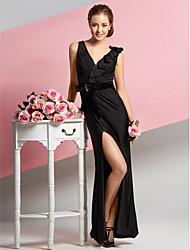 TS Couture® Formal Evening Dress Sheath / Column V-neck Ankle-length Chiffon / Velvet / Jersey with Side Draping