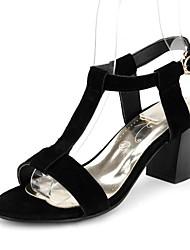 Mujer-Tacón Robusto-Zapatos del club-Sandalias-Oficina y Trabajo Vestido Fiesta y Noche-Vellón-Negro