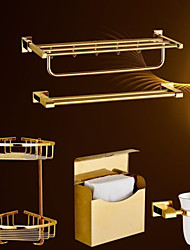 Bath Accessory Set,Contemporary 5 piece Gold-Plated Brass Material hardware set