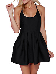 Women's Sexy Solid A Line Dress,Round Neck Mini Cotton / Polyester