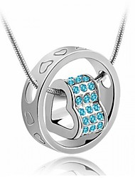 Women Necklace ELegant Crystal Heart in Heart Pendant Necklace(Assorted Color)