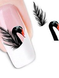 Water Transfer Printing Black Swan Pattern Nail Stickers