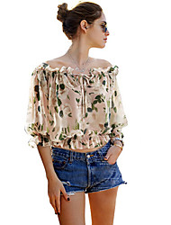 Women's Casual/Daily Sexy / Simple Summer T-shirt,Print Boat Neck ½ Length Sleeve Multi-color Polyester Thin
