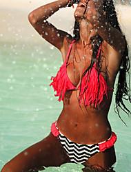 Women's Bandeau Bikinis / Tankinis , Tassels Wireless / Padded Bras Spandex Red