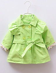 Girl's Green / Pink / Yellow Trench Coat,Floral / Dresswear Cotton Winter / Fall