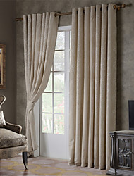 Two Panels Linen Floral Jacquard Curtain