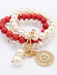 Women's European Style Fashion Imitation Pearl Beaded Round Pendant Multilayer Charm Bracelets