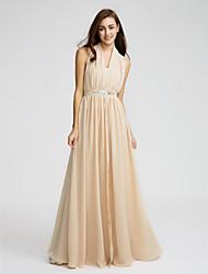 LAN TING BRIDE Floor-length Chiffon Bridesmaid Dress - Sheath / Column Halter with Beading / Crystal Detailing