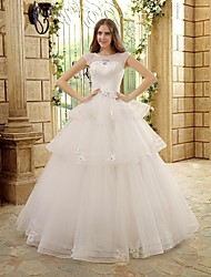 A-line Wedding Dress Floor-length Bateau Tulle with Beading