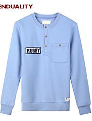 Trenduality® Hombre Escote Redondo Manga Larga Camiseta Azul Claro - 47018