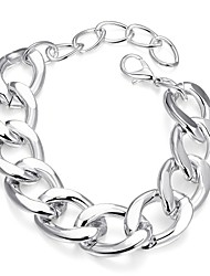 Fashion Simple Women's Platinum Plated Brass Chain & Link Bracelet(Silver)(1Pc)