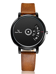 V6® Men's Fashion Binary Display Leather Band Quartz Watch Cool Watch Unique Watch