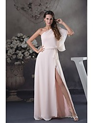 Lanting Floor-length Chiffon Bridesmaid Dress - Pearl Pink Ball Gown One Shoulder