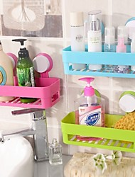 Strong Double Suction Cup Storage Shelves Pratical Kitchen Sundries Storage Holder PP Texture Bathroom (Ramdon Color)