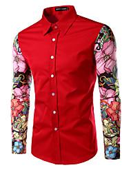 Men's Long Sleeve Shirt , Cotton Work / Formal Print