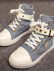 Women's Spring / Fall Comfort Canvas Outdoor / Casual Flat Heel Lace-up Black / Blue / White / Multi-color